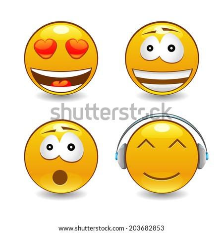 Vector happy bright vector emoticons - stock vector