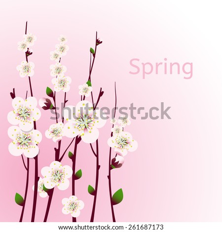 Vector happy easter card, wedding invitation template with an image of spring blossoming apricot  branches with a lot of flowers with blurred watercolor background - stock vector