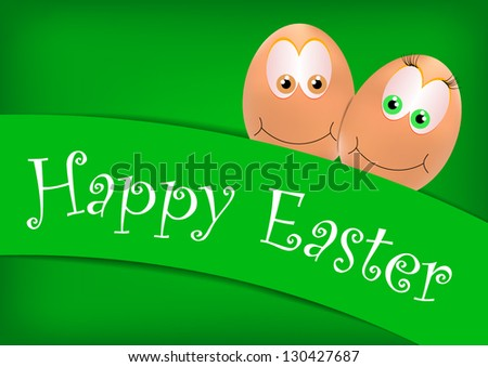 Vector Happy Easter card with eggs on the green background - stock vector