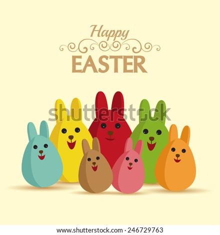 Vector Happy easter eggs with rabbit ears - stock vector