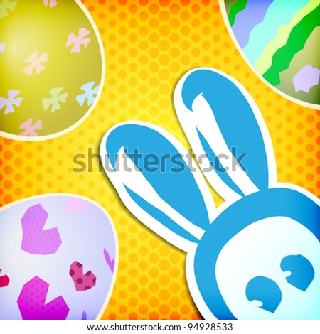 vector:happy easter greeting card,bunny eggs - stock vector