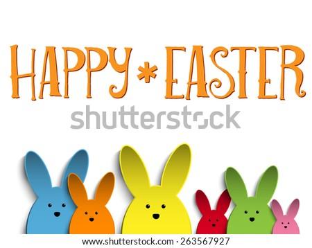 Vector - Happy Easter Rabbit Bunny  Colors - stock vector