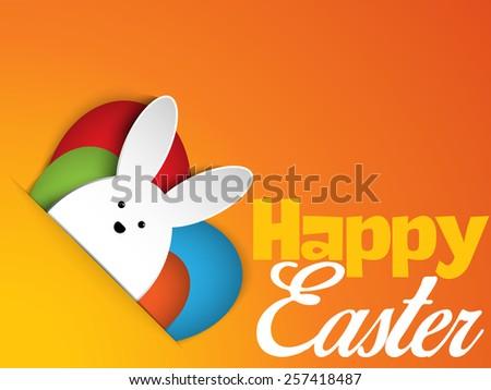 Vector - Happy Easter Rabbit Bunny on Orange Background - stock vector
