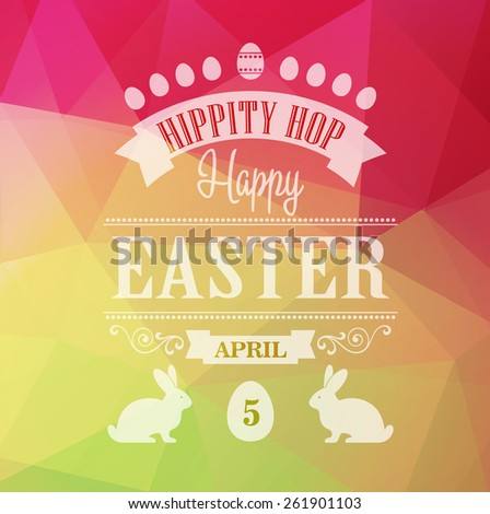 Vector Happy Easter Typographical Poster. Retro design - stock vector