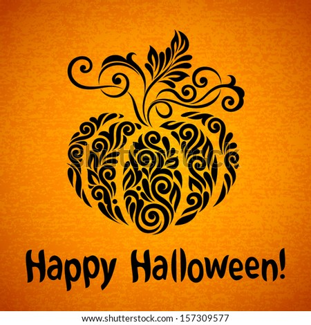 Vector Happy Halloween background with ornate pumpkin - stock vector