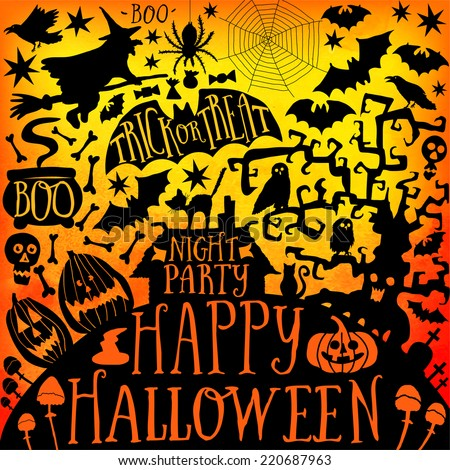 Vector Happy Halloween collection,classic bundle icons, doodles element for Halloween design. Set of Halloween silhouettes on triangles background. - stock vector