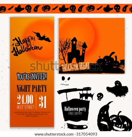 Vector Happy Halloween day set of banners. Hand drawn illustration with pumpkin, bat, scary moon. EPS10 - stock vector