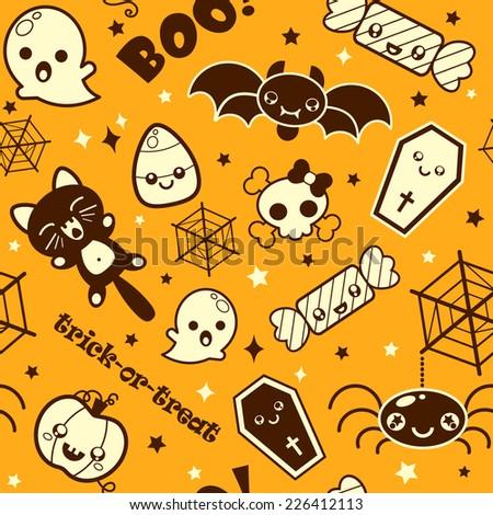 Vector Happy Halloween seamless pattern. Halloween cartoon funny character of creatures on orange background. Set of Halloween  icons.  - stock vector