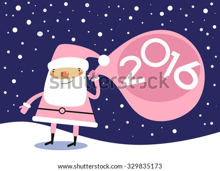 Vector 2016 Happy New Year background . Cartoon santa claus and numbers. - stock vector
