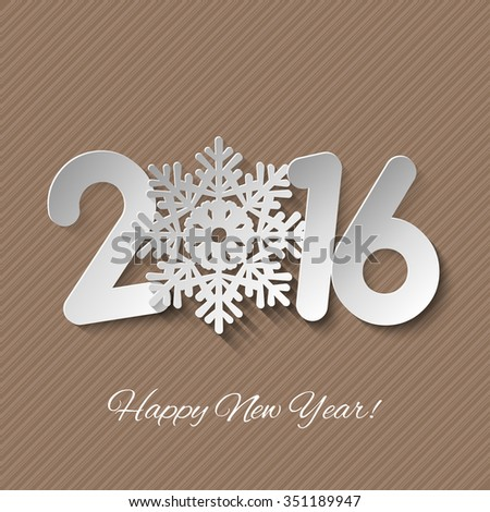 Vector Happy New Year background with paper cuttings - stock vector