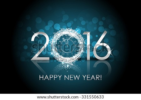 Vector 2016 Happy New Year background with silver clock - stock vector