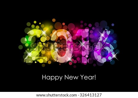 Vector Happy New Year - 2016 colorful background - stock vector