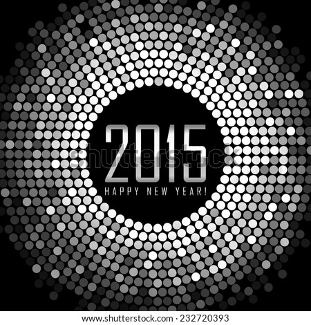 Vector - Happy New Year 2015 - frame with silver disco lights - stock vector