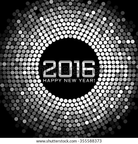 Vector - Happy New Year 2016 - frame with silver disco lights - stock vector
