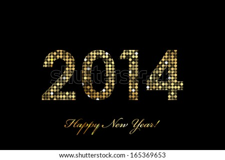 Vector 2014 Happy New Year gold glowing - stock vector