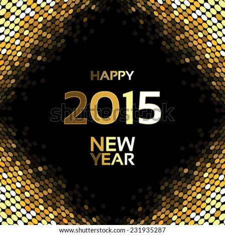Vector happy New Year - golden disco lights on the black background, abstract wallpaper - stock vector