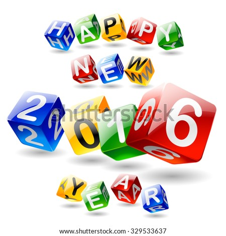 Vector Happy new year 2016 greeting card with 3D colorful cube font - stock vector