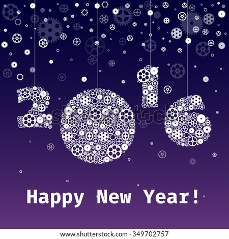 Vector Happy New Year 2016 greeting card with snowflakes shaped gears - stock vector