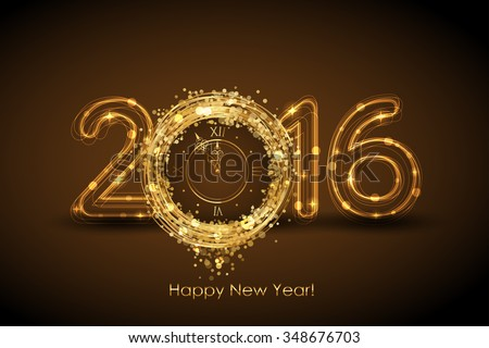 Vector 2016 Happy New Year magic background - stock vector