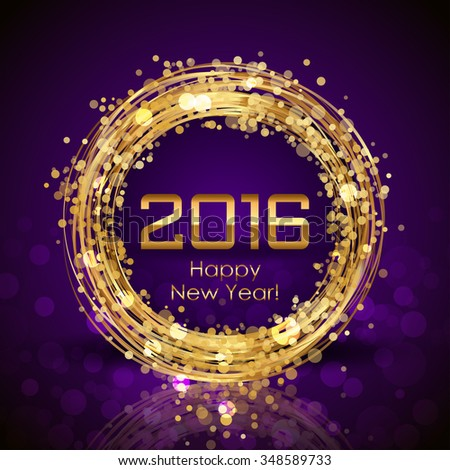 Vector 2016 Happy New Year purple background with gold clock - stock vector