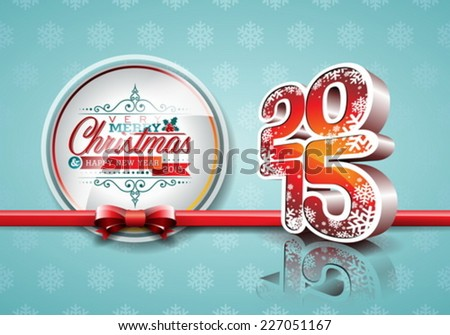 Vector Happy New Year 2015 red celebration background with ribbon.  EPS 10 illustration. - stock vector
