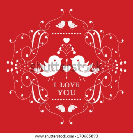 Vector Happy Valentine's Day invitation card with floral ornament label. I Love You. Perfect as invitation or announcement. - stock vector
