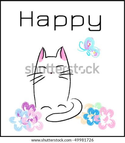 vector happy white cat around flower - stock vector