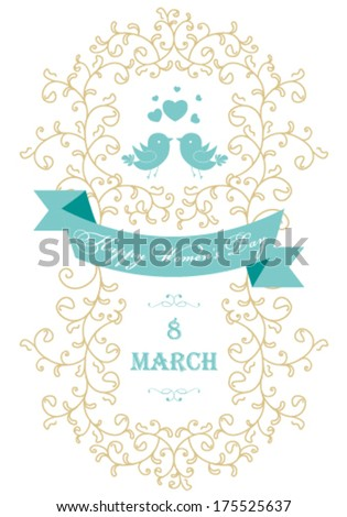 Vector Happy Women's Day greeting card with floral decorated text 8 March. - stock vector