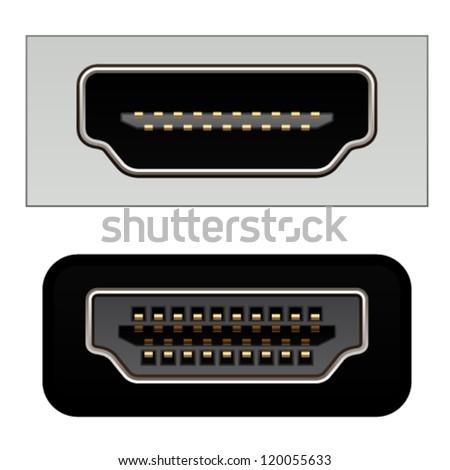 vector hdmi digital video connectors - stock vector
