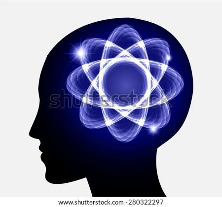 vector Head atom icon. dark blue atom molecule science symbol brain scientific mind thinker. silhouette. infographics. - stock vector