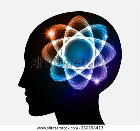 vector Head atom icon. dark orange blue purple atom molecule science symbol brain scientific mind thinker. silhouette. infographics. - stock vector