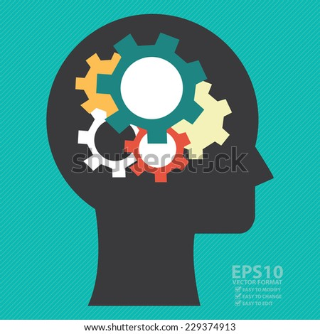 Vector : Head With Colorful Gear Inside Icon or Label in Blue Background  - stock vector