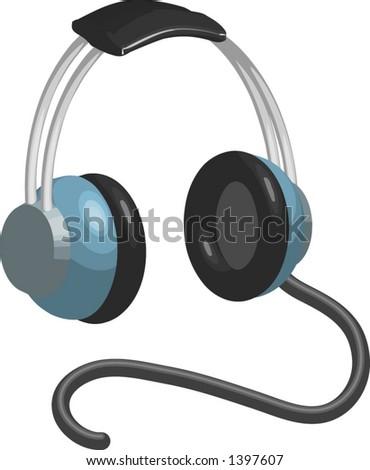 vector headphones - stock vector