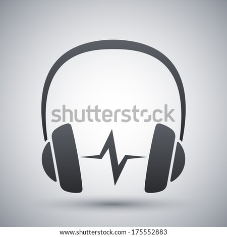 Vector headphones icon with sound wave - stock vector