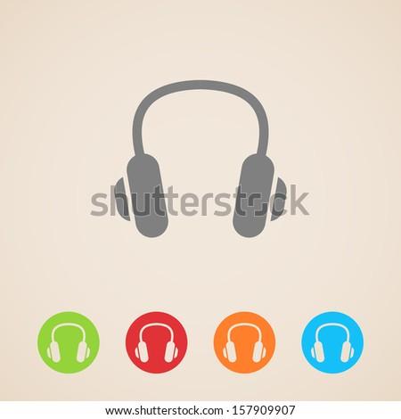 vector headphones icons - stock vector