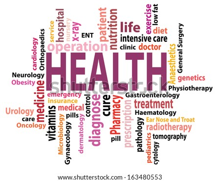 Vector health concept tag cloud - stock vector