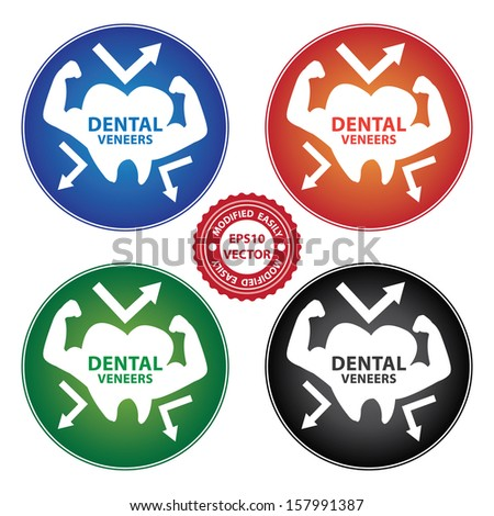 Vector : Healthcare and Medical Concept Present By Colorful Dental Veneers Icon Isolated on White Background  - stock vector