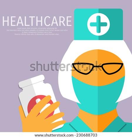 Vector healthcare illustration. A nurse with drugs jar. Eps 10. - stock vector