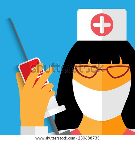 Vector healthcare illustration. A nurse with syringe. Eps 10. - stock vector
