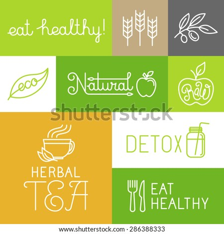 Vector healthy and fresh farm products labels and icons in trendy linear style - eat healthy and natural concepts - stock vector