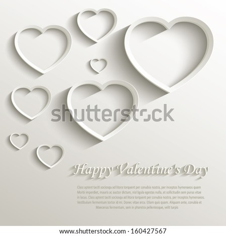 vector heart happy Valentine day love paper 3D natural - stock vector