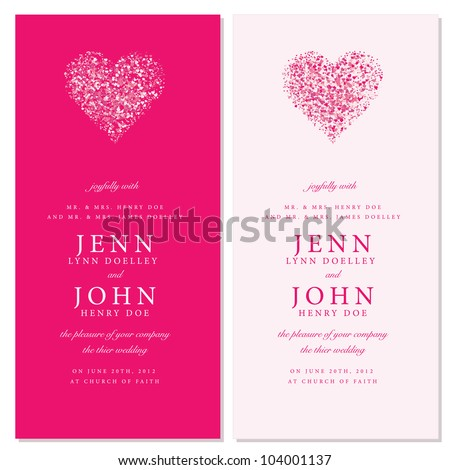 Vector Heart Invitation Frames. Easy to edit. Perfect for invitations or announcements. - stock vector