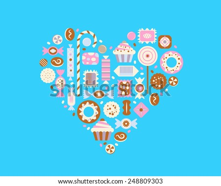 Vector heart made of candies. - stock vector