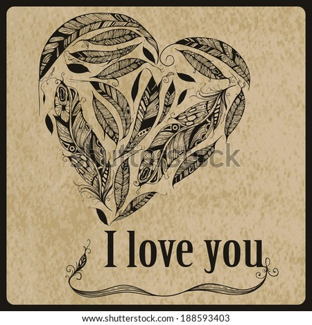 """Vector Heart made of  Feathers with """"I love you"""" standart AI font Birch std,  Native American Indian Style - stock vector"""
