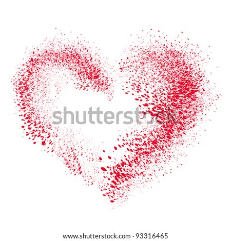 Vector heart made of  spray - stock vector
