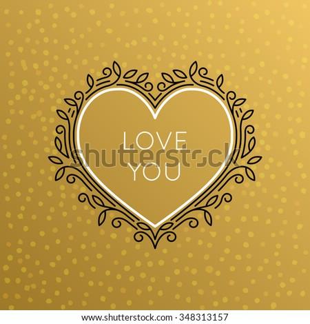 Vector Heart Monogram Decorative Frame. Vintage Linear Flourishes Elegant Ornaments. I Love You Elements Concept  for Cards, Labels, Emblems, Logos and Package Design. - stock vector