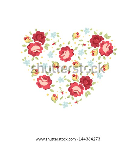 Vector heart of flowers, template for wedding invitations, save the date or greeting cards - stock vector