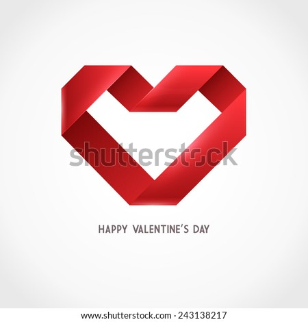 Vector Heart Ribbon Origami Logo Design Template. Valentine day icon - stock vector