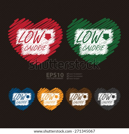 Vector : Heart Shape Low Calorie Banner, Sign, Label or Icon - stock vector
