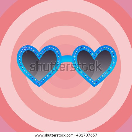 Vector heart shape sun glasses - stock vector